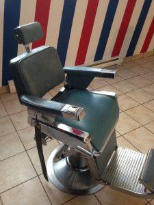 Belmont barber chair-Chaise de barbier Belmont année 60 couleur bleu gris/blue grey