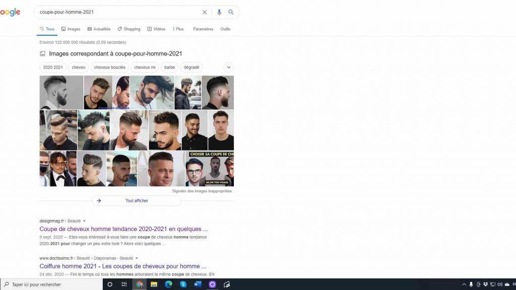 Photo qui illustre la recherche Google pour : coupe homme 2021